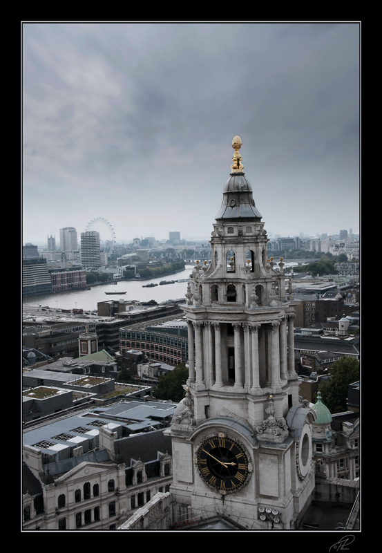 London with a view. Part of Saint Pauls and the London Eire, shot from Sct. Pauls